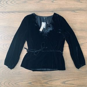 J.Crew Black Faux-Wrap Top in Drapey Velvet Size 8